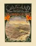 Retro art print featuring the Oakland hills