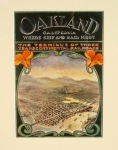 Retro art print featuring the Oakland hills
