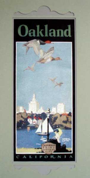Retro art print featuring the Lake Merritt skyline