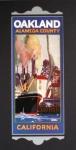 Retro art print featuring the port of Oakland